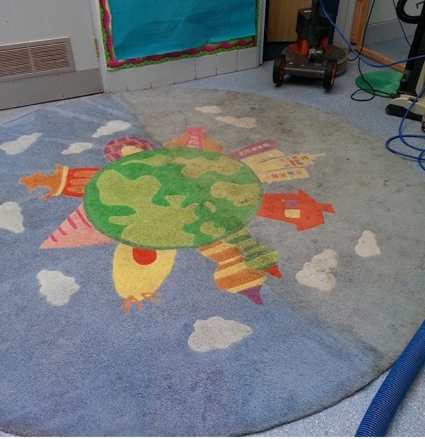 Rug cleaning at a local nursery