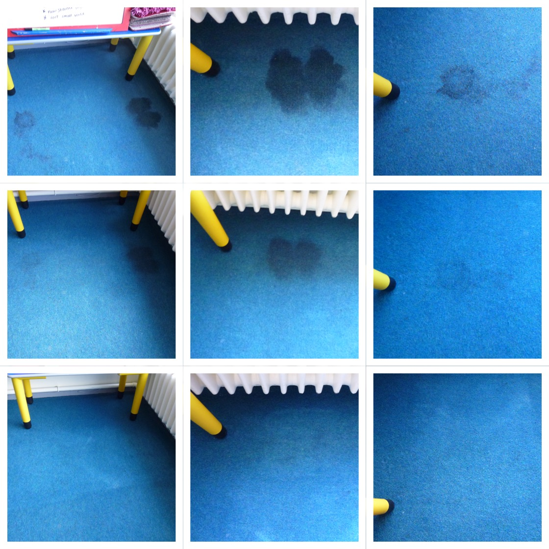 Stain Removal. Before, Pre-spray and dwell time and After